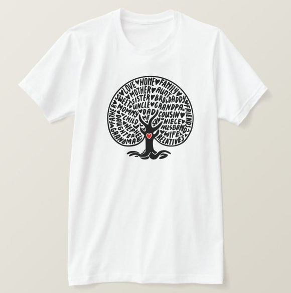 Family tree, family sayings, our nest, home, tree, High Performance Fabric Adult White Unisex Tshirt - RazKen Gifts Shop - 1 Day Processing time - Fast Shipping