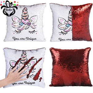 Personalized Photo Sequin Pillow Magical Mermaid Cushion Cover Case - RazKen Gifts Shop