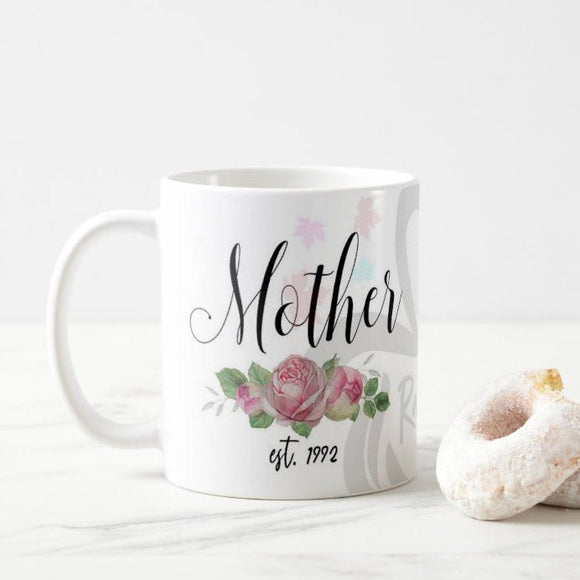 Mother Name Est. Year Personalized Floral, Mother's Day, Mom Gift Mug - RazKen - RazKen Gifts Shop - 1 Day Processing time - Fast Shipping