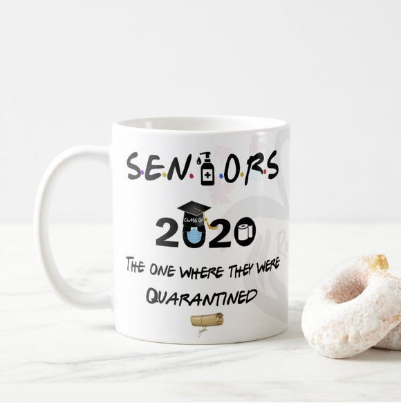 Personalized Name and Grade # Seniors Graduation School Quarantined 2020 Coffee Mug