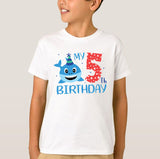Birthday Sharks Numbers Age, Birthday Gift, High Performance Fabric Child Unisex White Tshirt - RazKen Gifts Shop - 1 Day Processing time - Fast Shipping