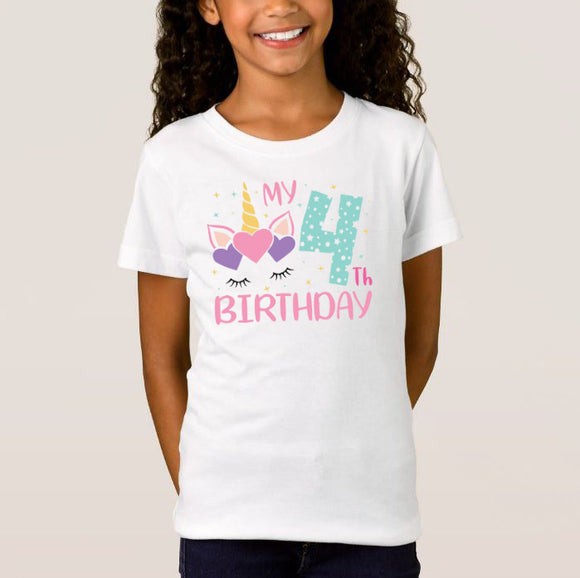 Unicorn Birthday Numbers Age, Birthday Gift, High Performance Fabric Child Unisex White Tshirt - RazKen Gifts Shop