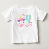 Unicorn Birthday Numbers Age, Birthday Gift, High Performance Fabric Child Unisex White Tshirt - RazKen Gifts Shop - 1 Day Processing time - Fast Shipping