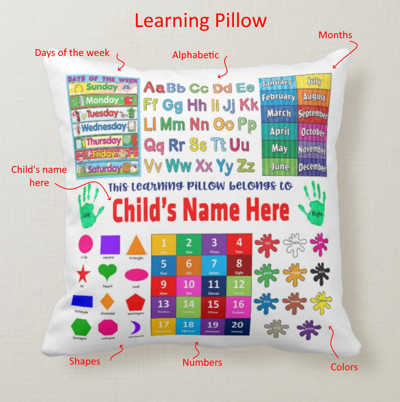 Custom Name Learning Pillow, Educational 1st/2nd Grade Learning Pillow For Children, Cushion Pillow - RazKen Gifts Shop