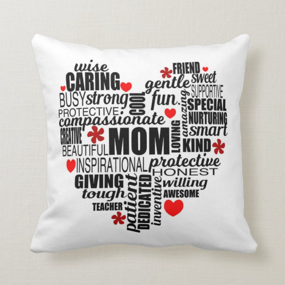 Mom Mother's Day Word Cloud, Gift for Mother Permanently Printing (NOT VINYL) Pillow Cover - RazKen Gifts Shop