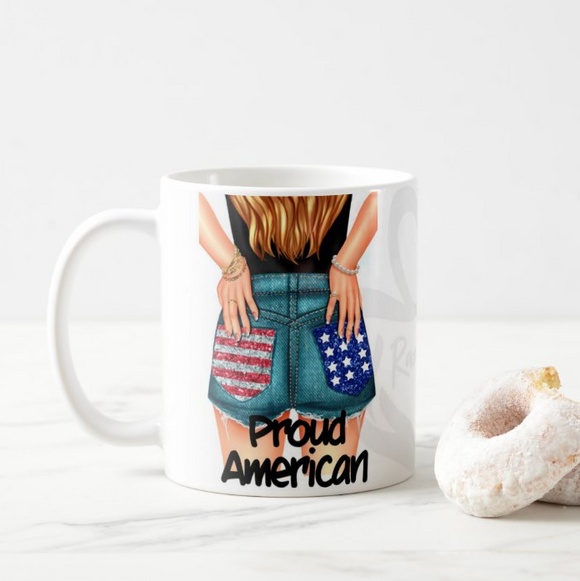 Proud American Girl US Flag Independence day Happy 4th of July Custom Hair Colour Coffee Mug