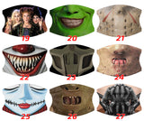 Scary Horror 35 Design Face Mask With Replaceable Filters, Adjustable Straps - RazKen Gifts Shop - 1 Day Processing time - Fast Shipping