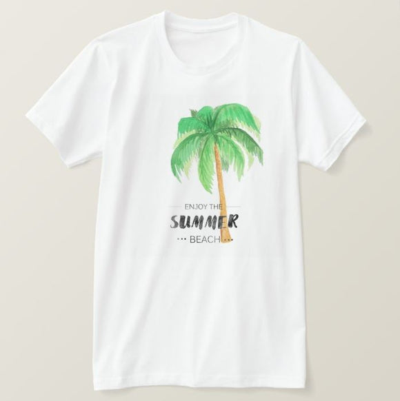 Enjoy the summer beach palm tree, High Performance Fabric Adult White Unisex Tshirt - RazKen Gifts Shop - 1 Day Processing time - Fast Shipping