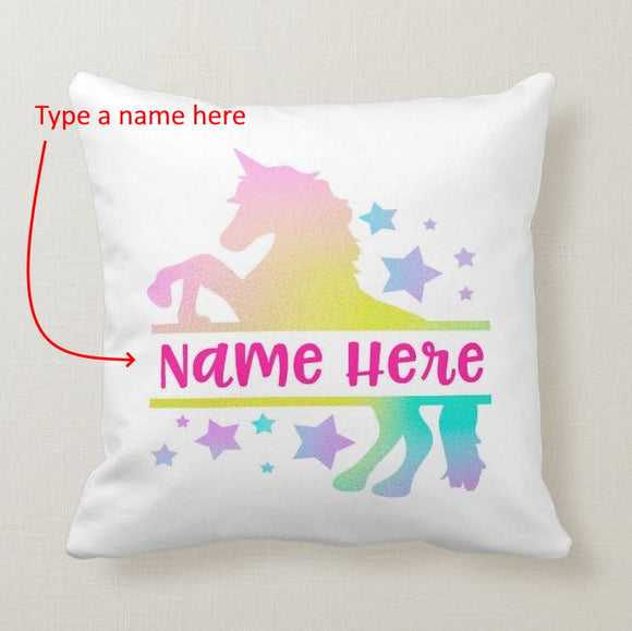 Personalized Unicorn Your Own Name Cushion Pillow Cover - RazKen - RazKen Gifts Shop - 1 Day Processing time - Fast Shipping
