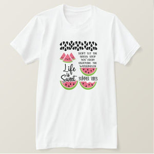 Watermelon - summer time summer vibes - inspirational, Adult White Unisex Tshirt - RazKen Gifts Shop - 1 Day Processing time - Fast Shipping