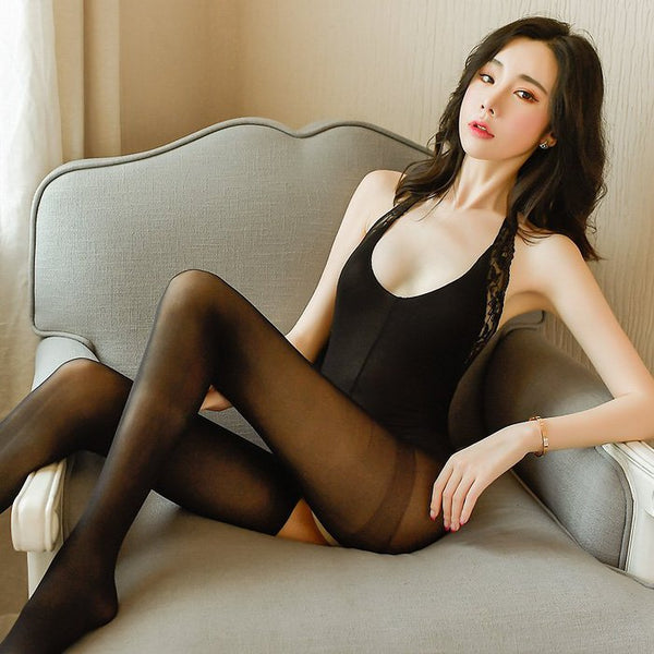 Sexy stockings-bold halter neck open crotch jumpsuit