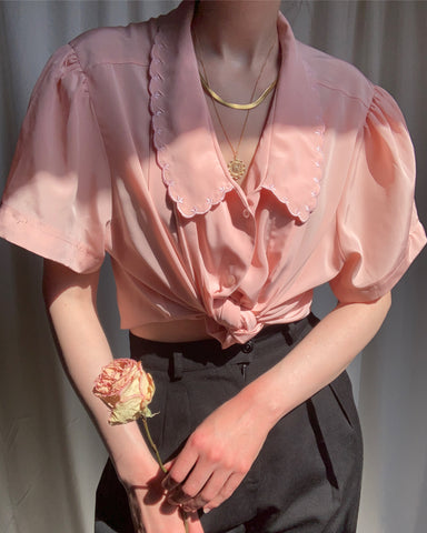 Vintage blush scalloped collar blouse