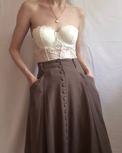 Vintage taupe midi skirt with buttons