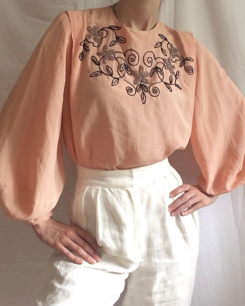 Vintage 1940s pink beaded poet sleeve blouse