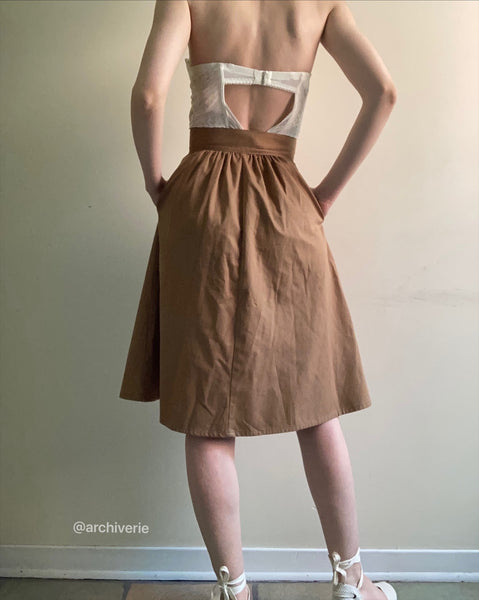 Vintage 1980s caramel flared button down midi skirt