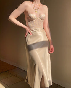 Vintage glossy champagne silky maxi skirt