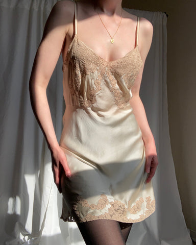 Vintage silk charmeuse and lace step-in