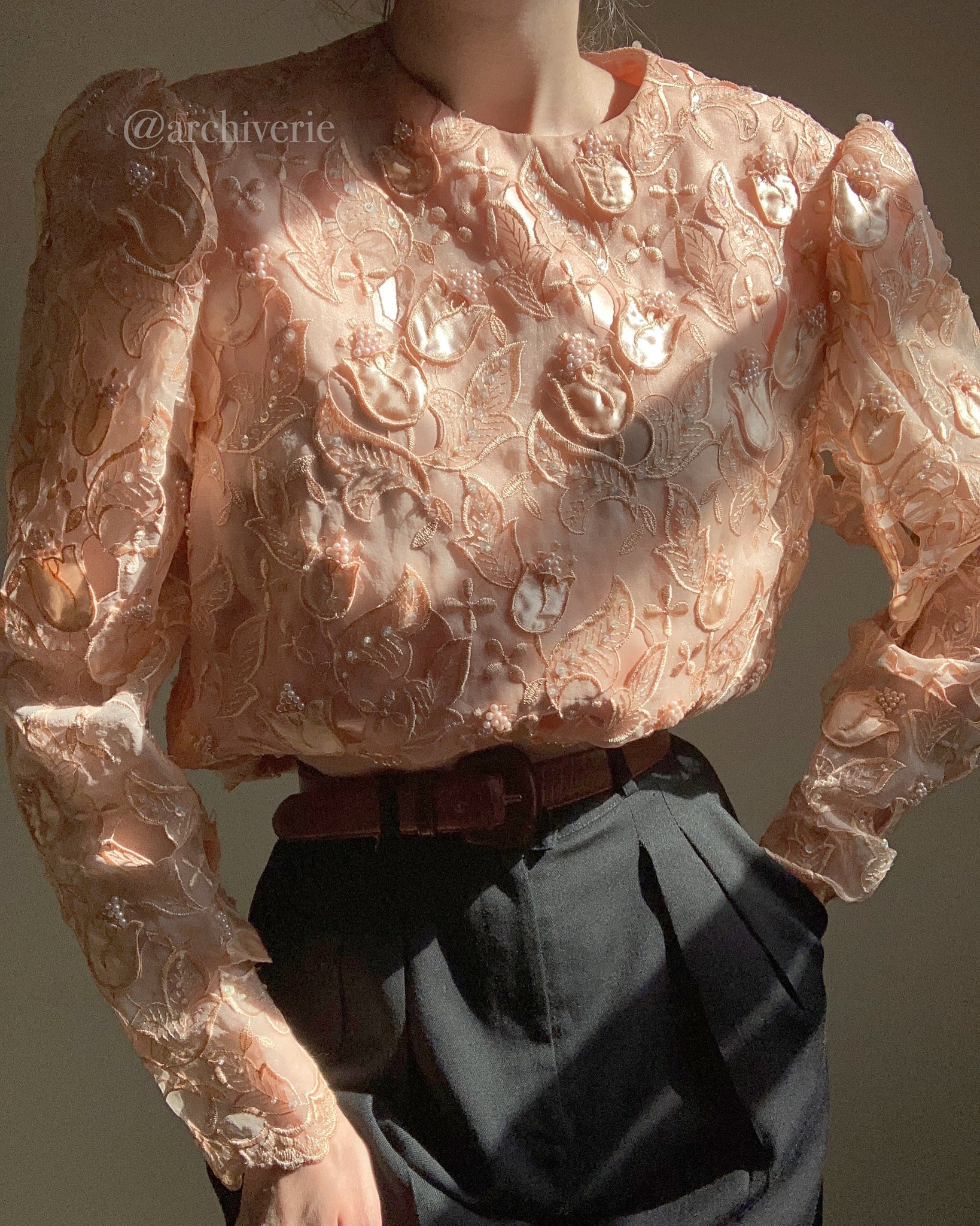 Vintage peachy blush floral appliqué silk organza cutout beaded and sequined blouse