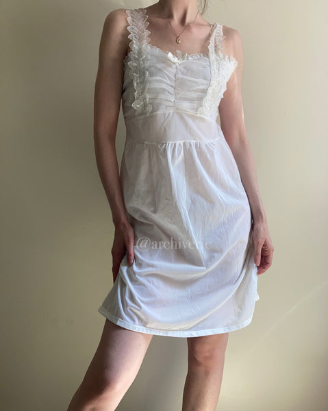 Vintage 1960s white swan lake slip dress