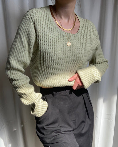 Vintage spring green chunky cable knit