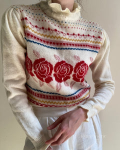 Vintage 1980s floral fair isle knit pullover