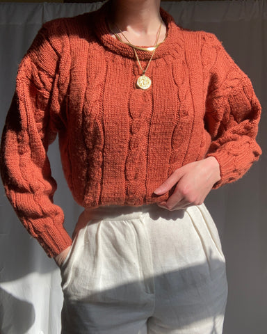Vintage terracotta cable knit sweater