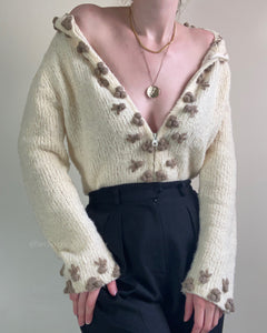 Creme wool blend cardigan with knit 3D berries