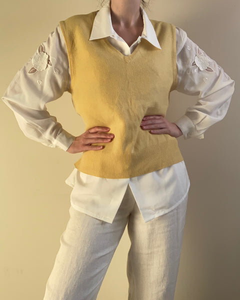 1960s yellow cashmere sweater vest
