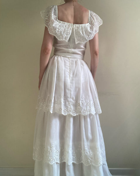 Vintage white eyelet tiered gown
