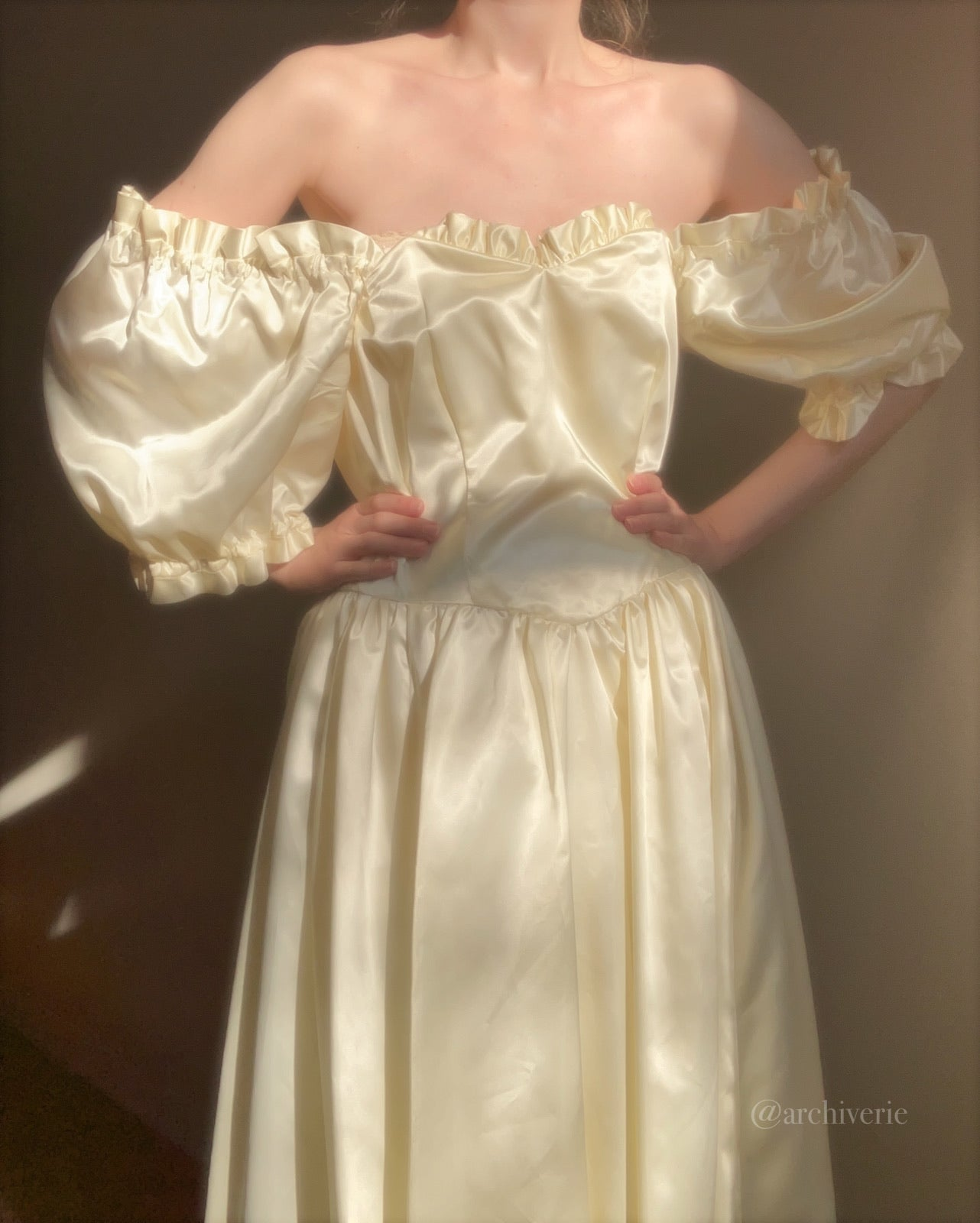 Vintage glossy creme satin off the shoulder gown