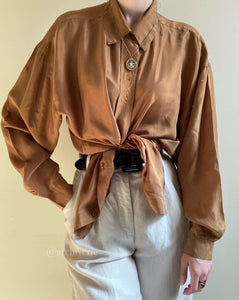 Vintage bronze silk button up