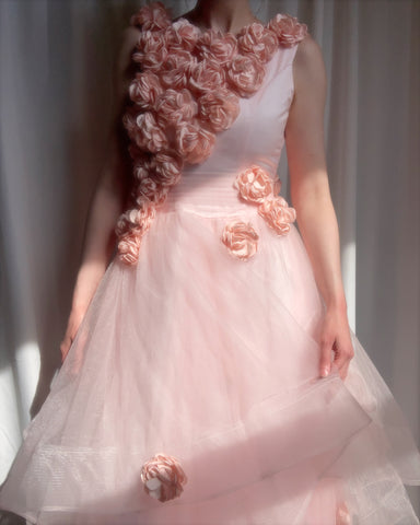 Vintage blush tulle floral appliqué dress