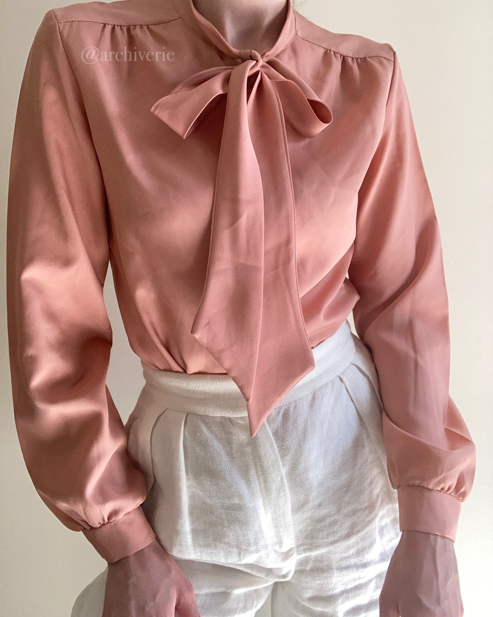 Vintage 1970s rose clay button up with neck ties