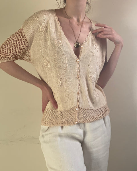 Peachy-beige pearl button cotton blend knit