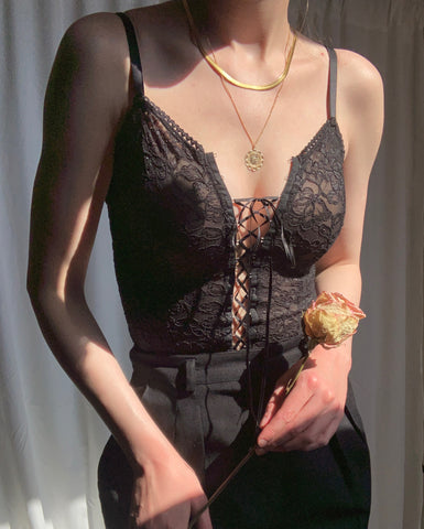 Vintage black stretch lace corset top