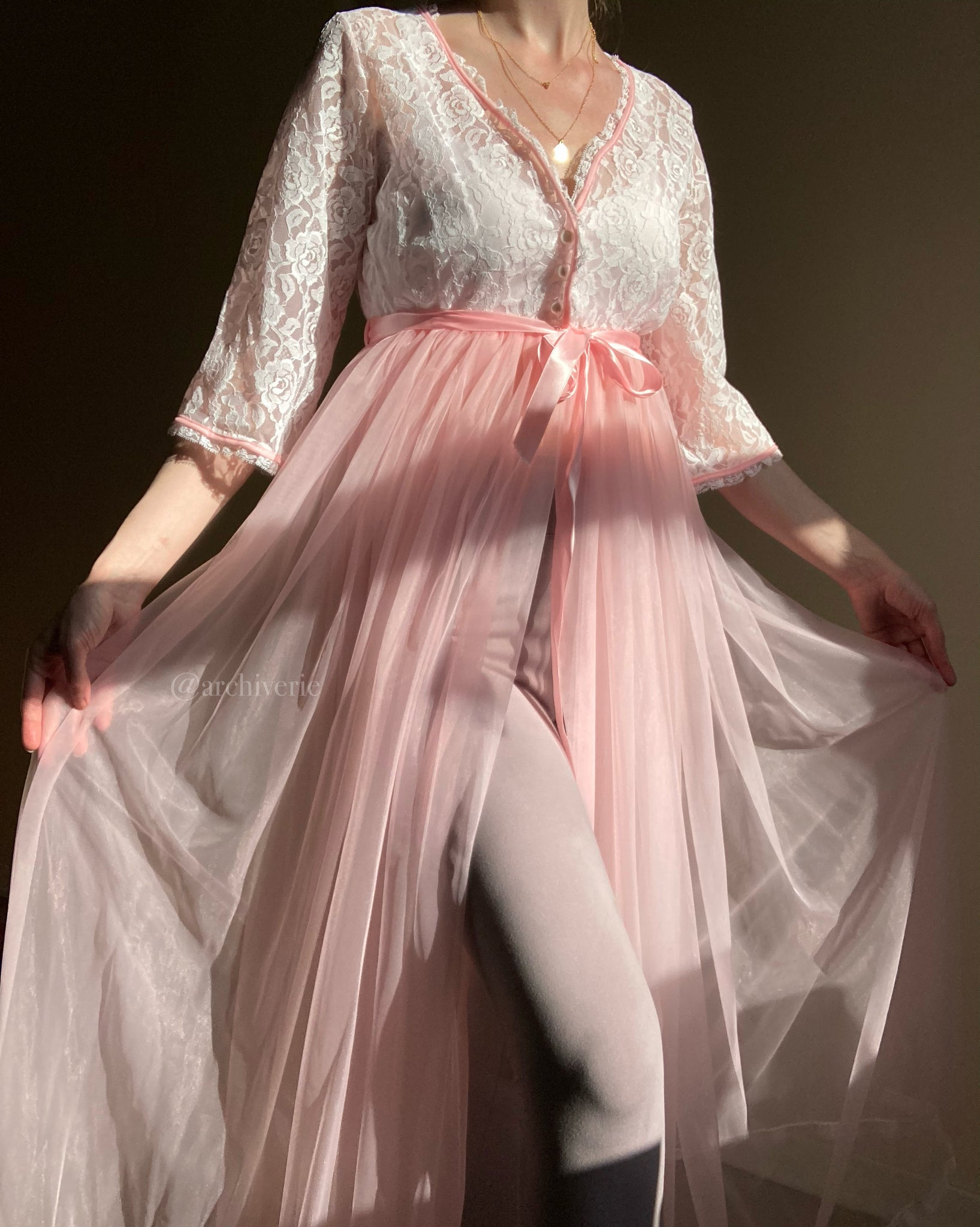 Vintage pink chiffon and lace robe