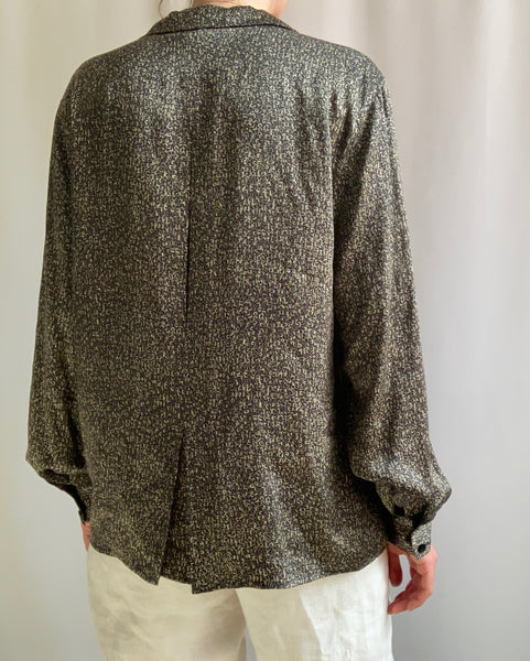 Silk charmeuse graphic print blouse