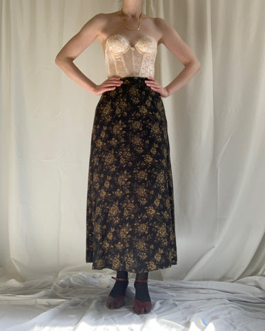 Vintage silk botanical skirt