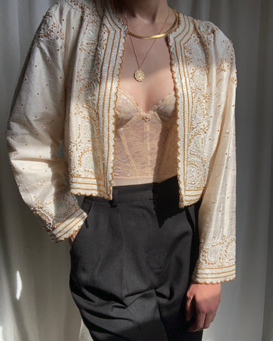 Vintage pearl silk beaded and sequined cropped jacket