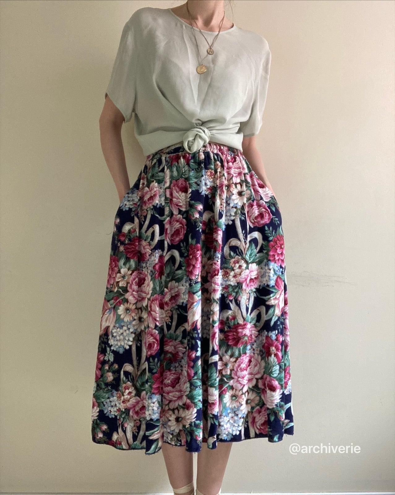 Vintage 1990s indigo and cerise botanical skirt