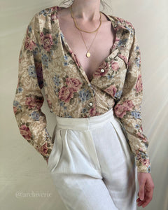Vintage muted pastel botanical button up