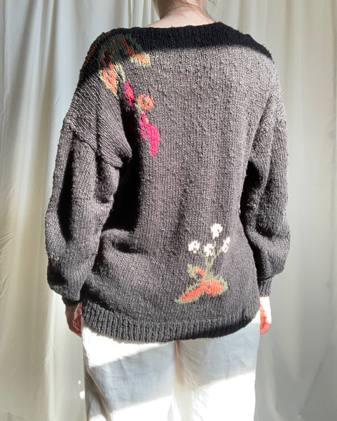 Vintage deer scene cotton blend sweater