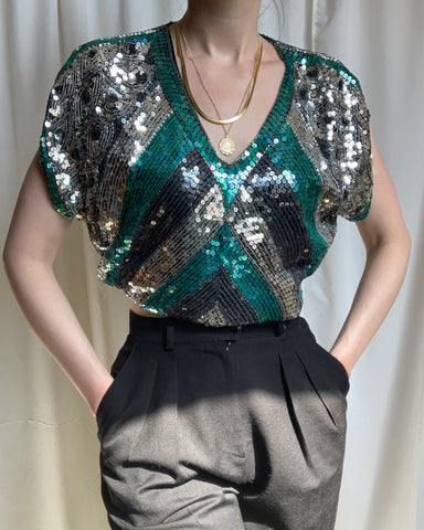 Vintage silk sequined blouse