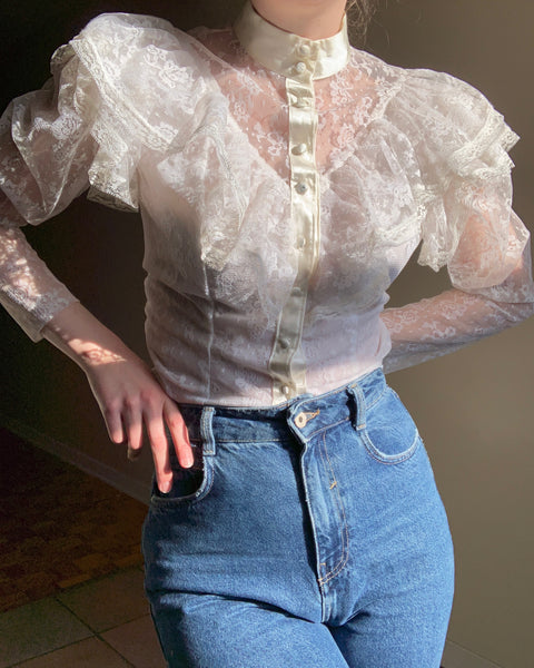 Vintage white ruffled lace yoke prairie blouse
