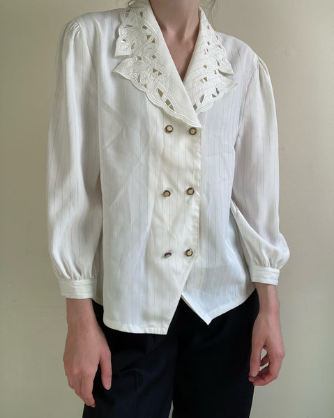 Vintage double-breasted button up blouse with oversized cutwork collar