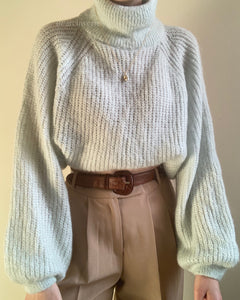 Vintage seafoam Italian mohair blend balloon sleeved turtleneck