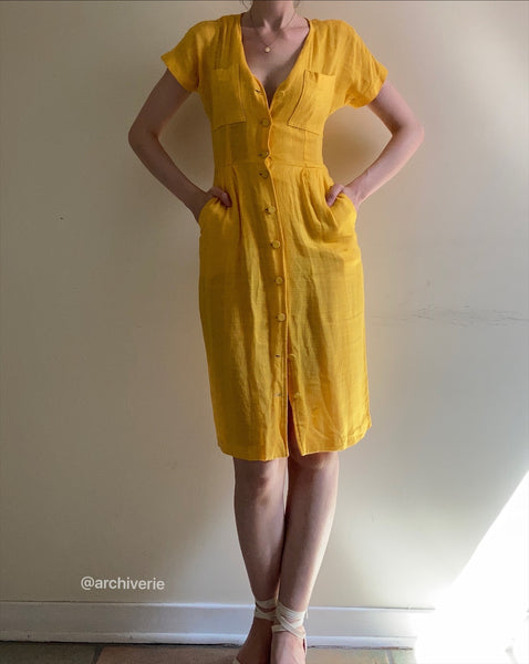 Vintage marigold buttoned shirtdress