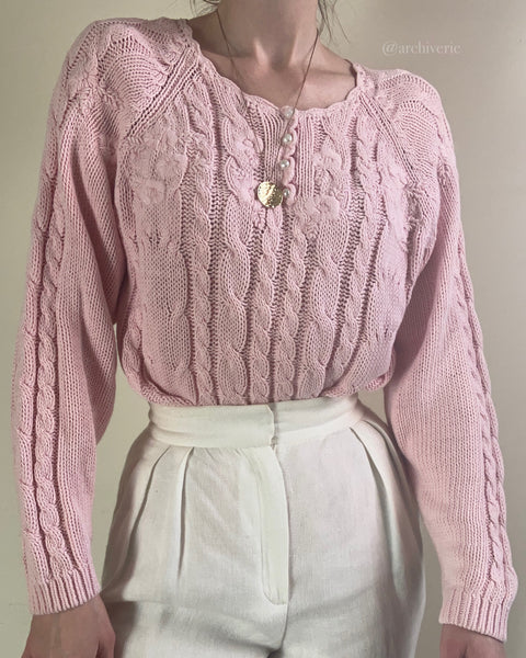 1980s pink cotton cable knit