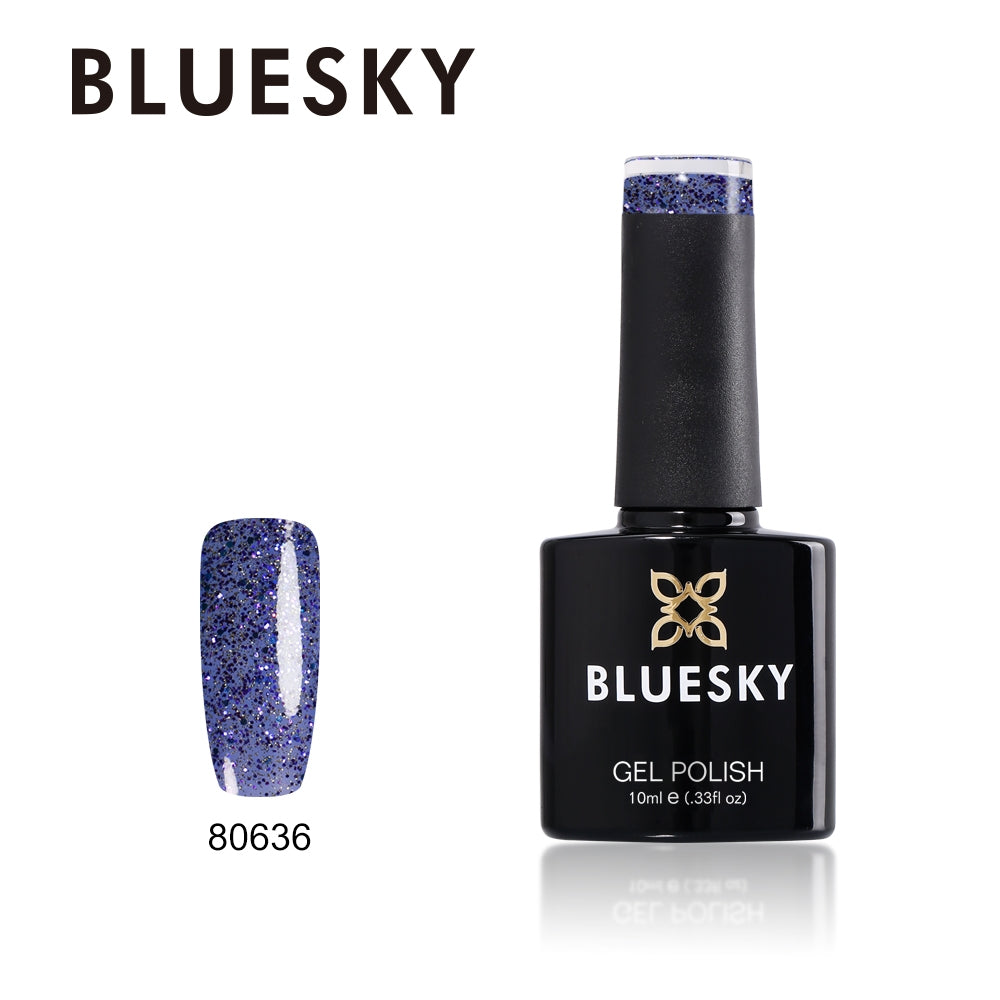 Bluesky UV LED Gel Soak Off Nail Polish, 636 Starry Sapphire 10ml