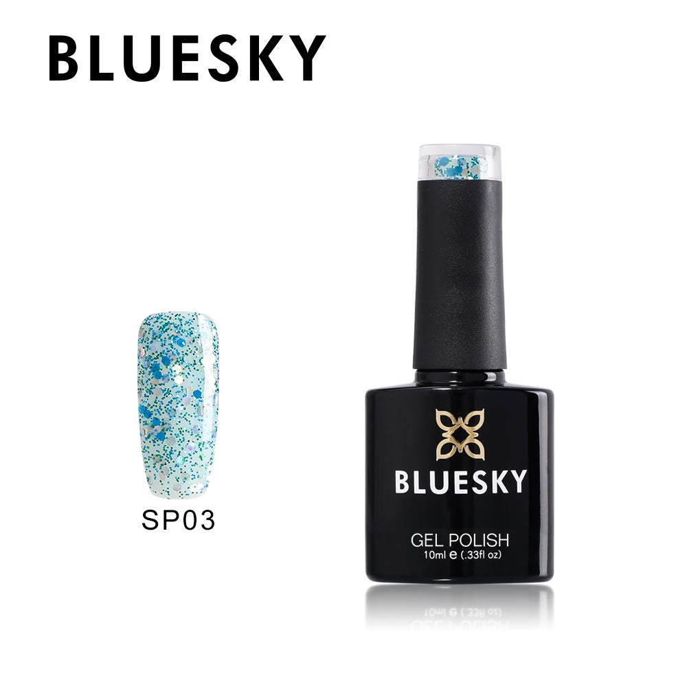 03 SP SUPERSTAR  Aqua with different size glitter - UV LED Gel Soak off Nail Polish 10ml